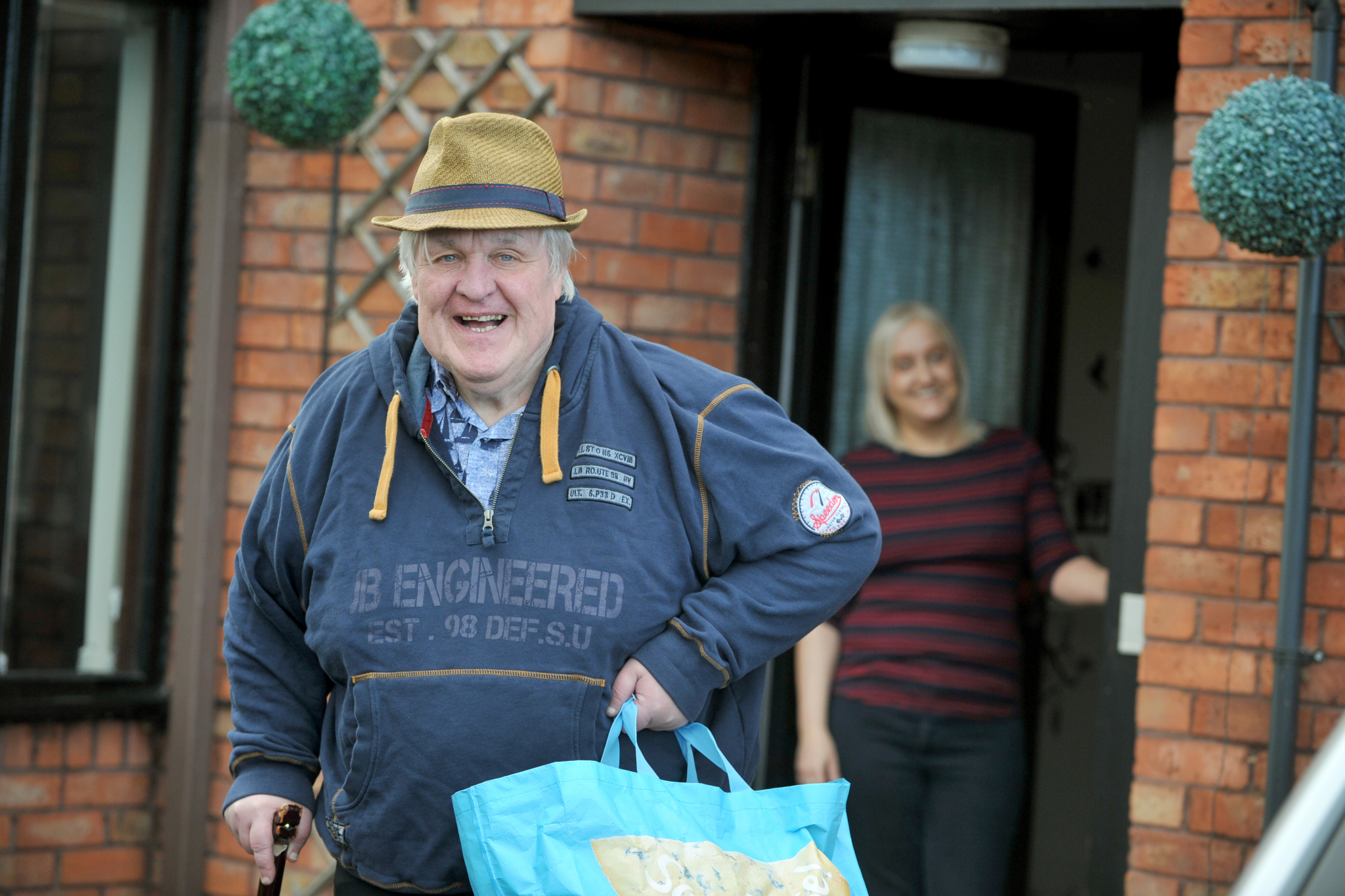 Man leaving house