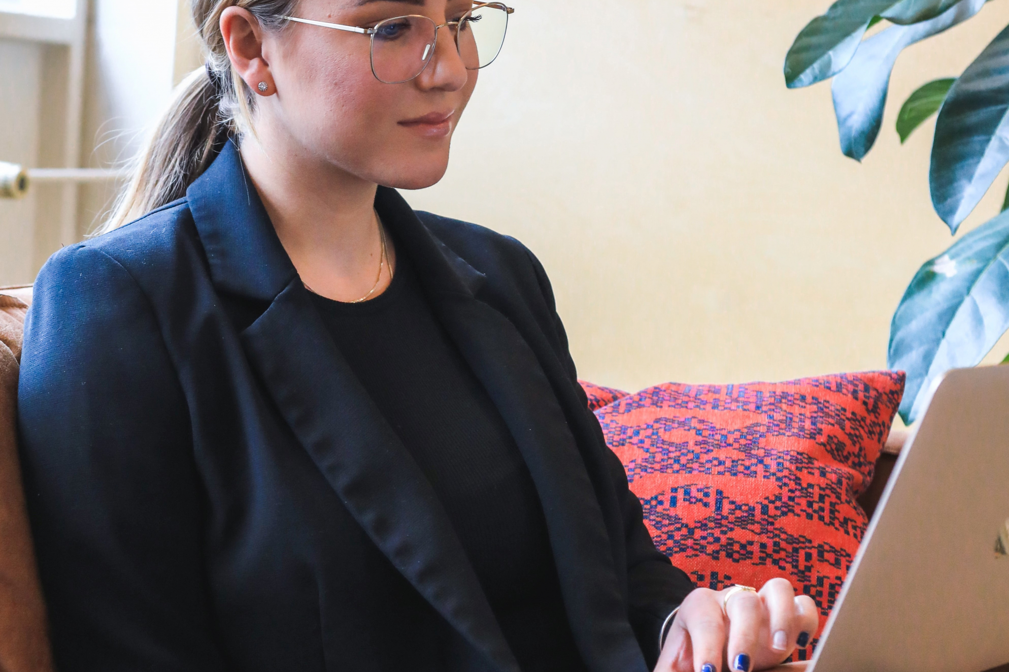 Woman taking part in online interview